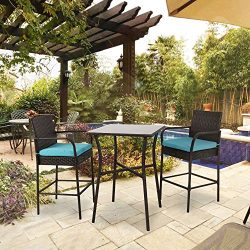 Peach Tree 3PCs Outdoor Wicker Chair with Glass Patio Table Set, All Weather Patio Furniture Roc ...