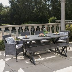 Christopher Knight Home Owenburg Outdoor 6 Piece Grey Aluminum Dining Set with Bench and Grey Wi ...