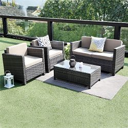 Wisteria Lane 5 Piece Outdoor Furniture Set,Patio Conversation Set Sectional Sofa All Weather Wi ...
