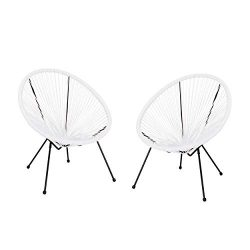 Great Deal Furniture Major Outdoor Hammock Weave Chair with Steel Frame (Set of 2) – White ...