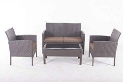 UFI 4 Pieces Outdoor Patio Furniture Sets Garden Elegant Designed Sectional Sofa Backyard Porch  ...