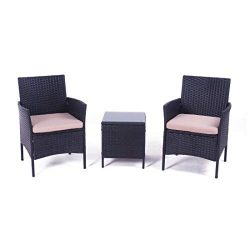 United Flame Cafe sets 3 Pieces Outdoor Patio Furniture Sets Black Rattan Chair Wicker Set Backy ...