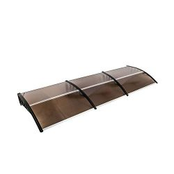 Hommo 40″x 120″ Polycarbonate Window Door Brown Awning with Bracket Overhead Cover F ...