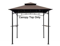 APEX GARDEN Replacement Canopy Top for Model #L-GG001PST-F 8′ X 5′ Brown Double Tier ...