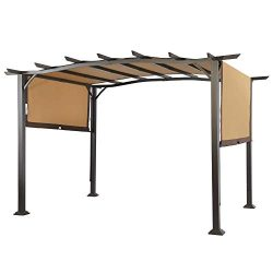 COSTWAY Pergola Outdoor Steel Frame Patio Sun Shelter Retractable Canopy Shade, As The