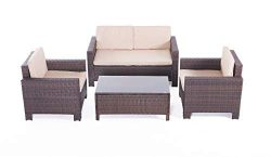 UFI 4pcs Patio Furniture Sets All Weather Indoor Outdoor Conversation Set Rattan Wicker Sofa wit ...