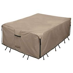ULTCOVER 600D PVC Durable Rectangular Patio Table with Chair Cover, 100% Waterproof Outdoor Furn ...