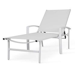 Chaise Lounge Chair Aluminum with 5 Position Adjustable Back Outdoor Beach Pool Modern Patio Fur ...