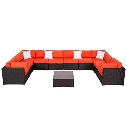 Patio Furniture Sets All-Weather Outdoor Sectional Sofa Wicker Rattan Patio Conversation Set (11 ...