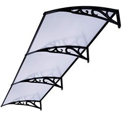 VIVOHOME Polycarbonate Window Door Awning Canopy Grey with Black Bracket 40 Inch x 120 Inch