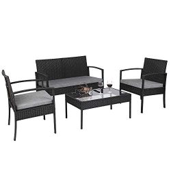 Teekland 4 PCS Outdoor Patio Rattan Wicker Furniture Set with Table Sofa Cushioned Black