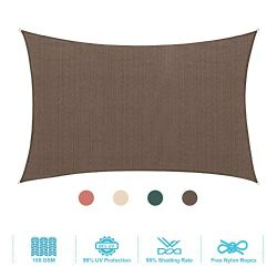 PHI VILLA Sun Shade Sail Rectangle 8'x10′ Coffee Patio Canopy Cover – UV Bloac ...