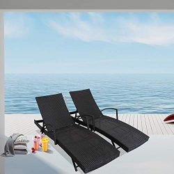 LEAPTIME Outside Lounge Chair Set of 2 Patio Rattan Chaise Lounge Adjustable Backrest Black PE W ...