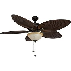 Honeywell Palm Island 52-Inch Tropical Ceiling Fan with Sunset Glass Bowl Light, Five Palm Leaf  ...