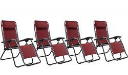 Naomi Home Zero Gravity Lounge Patio Outdoor Recliner Chairs Red/Set of 4