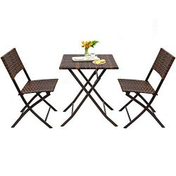 Devoko Patio Bistro Sets Deck Folding Dining Chair & Table 3 Pieces Outdoor Garden Poolside  ...