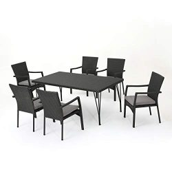 Christopher Knight Home Lula Outdoor 7 Piece Grey Wicker Rectangular Dining Set with Grey Water  ...