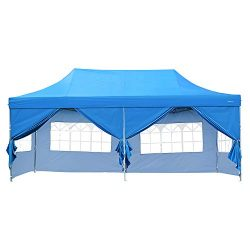 DOIT 10ft x 20ft Outdoor Pop up Shade Instant Folding Canopy with 6 Removable Side Walls,Party T ...