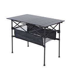 RORAIMA Easy Setup Compact Aluminum Camping Folding Party Table 120 Lbs Capacity Great Outdoor C ...