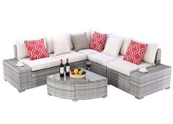 Do4U 6 Pieces Outdoor Patio Furniture Sectional Conversation Set, All-Weather Wicker Rattan Sofa ...