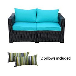 Rattaner Patio Wicker Furniture Outdoor Garden Love Seat Chair Couch Sofa Black with Turquoise C ...