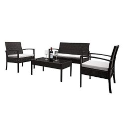 4 PCS Outdoor Patio Rattan Wicker Furniture Set,2pcs Arm Chairs 1pc Love Seat & Tempered Gla ...