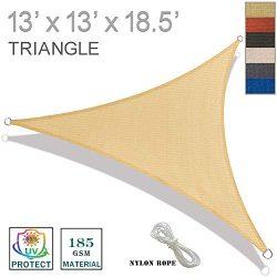SUNNY GUARD 13′ x 13′ x 18.5′ Sand Triangle Sun Shade Sail UV Block for Outdoo ...