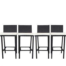 JETIME Patio Bar Stool 4Pcs Rattan Furniture Outdoor Wicker Bar Set Black Bar Stool-A with Beige ...