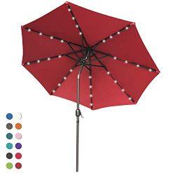ABCCANOPY Solar Umbrellas Patio Umbrella 9 FT LED Umbrellas 32LED Lights with Tilt and Crank Out ...