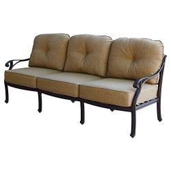 K&B PATIO LD1031-23 Nassau Sofa with Cushion, 32″ H, Antique Bronze