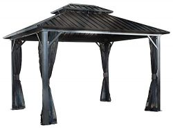 Sojag 12′ x 12′ Genova Double Roof Hardtop Gazebo 4-Season Outdoor Sun Shelter with  ...
