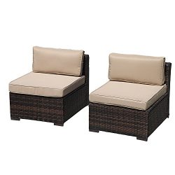 Super Patio 2 Pieces Outdoor Single Chairs Patio PE Wicker Armless Seat with Beige Cushions, Brown