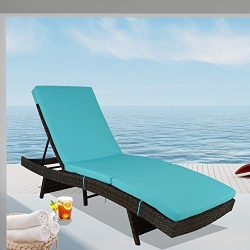 Patio Chaise Lounge Rattan Chairs Outdoor Lounger Outdoor Furniture Pool Sunbed w/Cushion 5 Posi ...