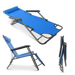 mshoppingmall Portable Folding Patio Lounge Chair Chaise Bed Comfortable Adjustable Beach Outdoo ...