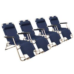 Lucky Tree 4 Pack Portable Chaise Lounge Chair Flat Folding Outdoor Recliner Chair for Camping B ...