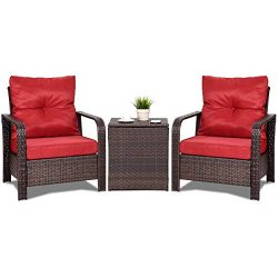 Tangkula Conversation Set, Outdoor Patio 3- Piece All Weather Proof Sturdy Wicker Chairs & C ...