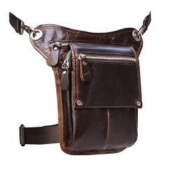 Le'aokuu Mens Genuine Leather Messenger Hiking Waist Hip Bum Pack Drop Leg Bag (Brown)