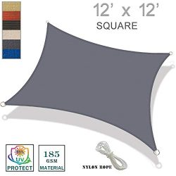 SUNNY GUARD 12′ x 12′ Charcoal Square Sun Shade Sail UV Block for Outdoor Patio Garden