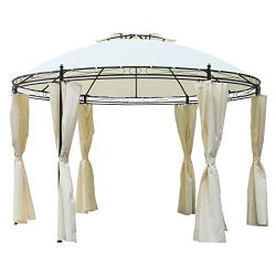 Outsunny 11.5' Steel Fabric Round Soft Top Outdoor Patio Dome Gazebo Shelter with Curtains &#821 ...