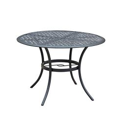 "LOKATSE HOME 42.1"" Outdoor Patio Bistro Metal Wrought Iron Round Dining Table with Umbrell ..."