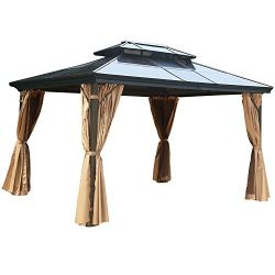 MASTERCANOPY PatioPolycarbonate Gazebo Canopy Hardtop Gazebo with Brown Mosquito Netting Screen  ...