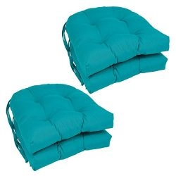 Blazing Needles Solid Twill U-Shaped Tufted Chair Cushions (Set of 4), 16″, Aqua Blue