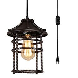 Vintage Swag Pendant Light with 16 Ft Plug in Cord and On/Off Dimmer Switch, Industrial Rustic C ...