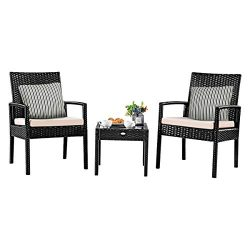 Tangkula 3 Piece Patio Furniture Set, Outdoor Wicker Rattan Conversation Set, 2 Cushioned Chairs ...