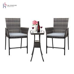 H&L Patio Outdoor 3PCS Wicker Bistro Set with Ice Bucket: Gray PE Rattan Furniture – T ...