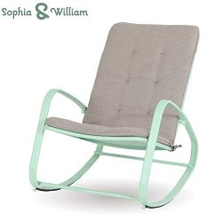 Sophia and William Outdoor Patio Rocking Chair Padded Steel Rocker Chair Support 300lbs, Green