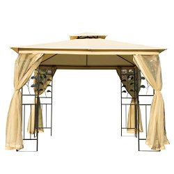 Outsunny 8.5' Steel Fabric Rectangle Outdoor Gazebo with Mesh Curtain Sidewalls – Beige