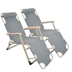 Lucky Tree 2 Pack Patio Lounge Chairs Adjustable to Full Flat Cots Floding Reclining Chair for O ...