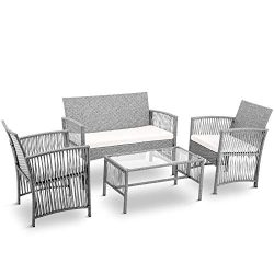 LZ LEISURE ZONE Patio Furniture Set 4 Pieces Outdoor Conversation Set with Wicker Sofa, Rattan C ...