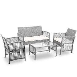 LZ LEISURE ZONE Patio Furniture Set 4 Pieces Outdoor Conversation Set with Wicker Sofa, Rattan C ...